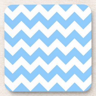 Bold Light Blue & White Chevron Zig-Zag Pattern Coaster