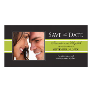 Bold Lime Green Stripe Save the Date Announcement