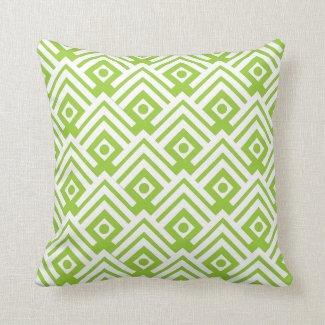Bold lime green & white chevron dot pattern pillow