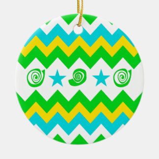 Bold Lime Teal Yellow Chevron with Stars and Swirl Ceramic Ornament