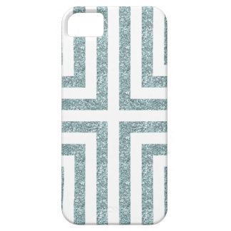 Bold Lined Geometric Design in Bright Blue Glitter iPhone 5 Cases