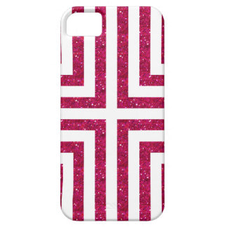 Bold Lined Geometric Design in Bright Pink Glitter iPhone 5 Covers