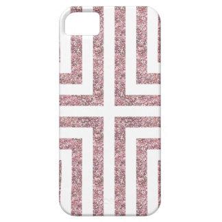 Bold Lined Geometric Design in Bright Pink Glitter iPhone 5 Case