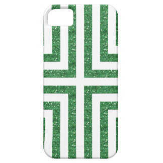 Bold Lined Geometric Design in Green Glitter iPhone 5 Cases