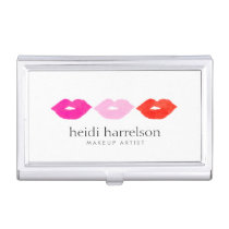 Bold Lips Trio Watercolor Makeup Artist White Case For Business Cards