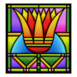 bold lotus/tulip stain glass design poster