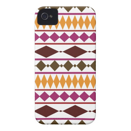 Bold Magenta Rust Tribal Geometric Pattern iPhone 4 Case-Mate Cases
