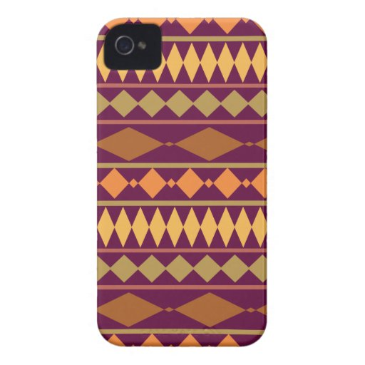 Bold Magenta Rust Tribal Geometric Pattern iPhone 4 Cover