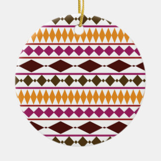 Bold Magenta Rust Tribal Geometric Pattern Ceramic Ornament