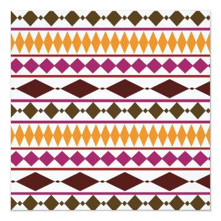 Bold Magenta Rust Tribal Geometric Pattern Invitation