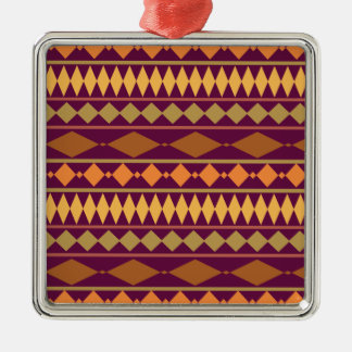 Bold Magenta Rust Tribal Geometric Pattern Metal Ornament