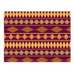 Bold Magenta Rust Tribal Geometric Pattern Postcard