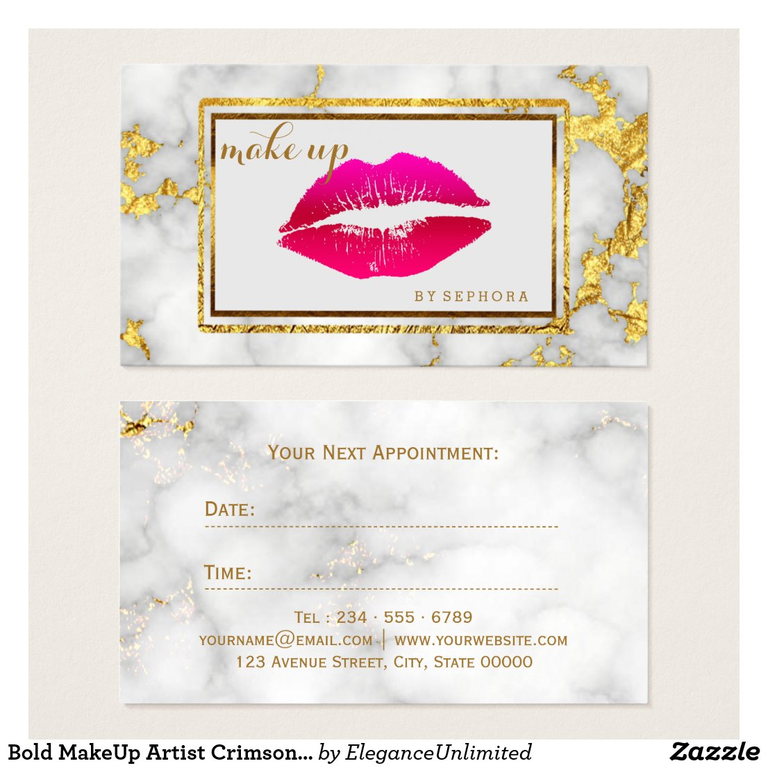 Bold MakeUp Artist Crimson Lips Marble Beauty Business Card