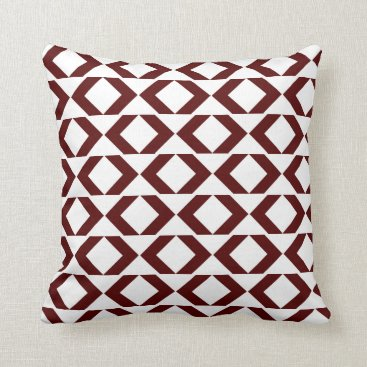 Aztec Themed Bold Maroon and White modern chevron throw pillow