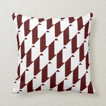 Aztec Themed Bold Maroon and White, modern harlequin design Throw Pillow