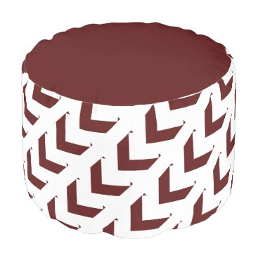 Aztec Themed Bold Maroon & White Chevron Design Pouf