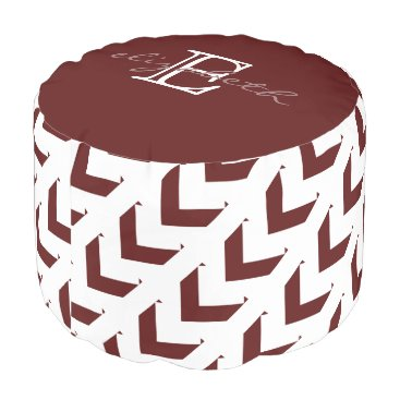 Aztec Themed Bold Maroon & White Chevron, personalized Pouf