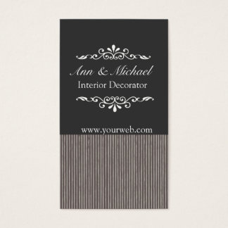 Bold Masculine Striped Pattern Black & Gray Business Card