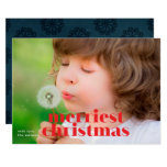 Bold Merriest Christmas Red Holiday Photo Card