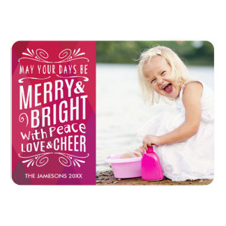 Bold Merry and Bright Holiday Photo Card
