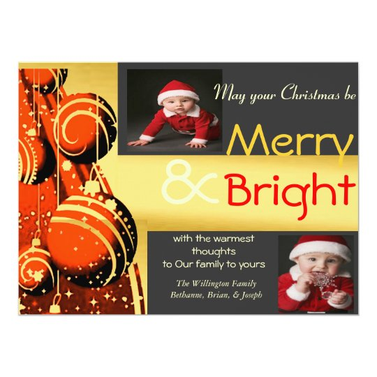 Bold Merry and Bright Photo Party Invitation