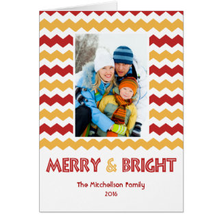 Bold MERRY BRIGHT Chevron Holiday Card