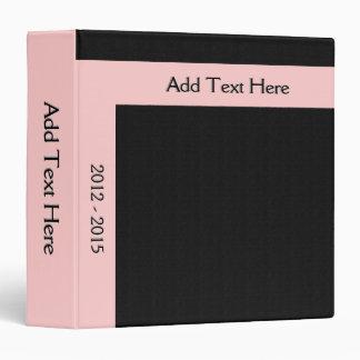 Bold Minimal Pink on Black Custom Binder