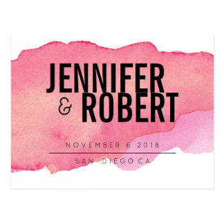 Bold Minimal Pink watercolor BLACK SAVE THE DATE Postcard