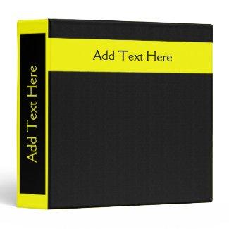 Bold Minimal Yellow on Black Custom Binder