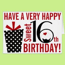Bold Mod Black Red Happy Sweet 16th Birthday Card