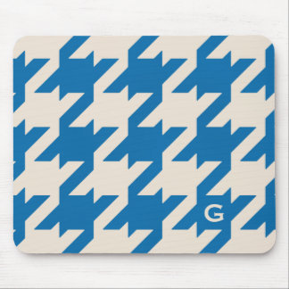 Bold modern aqua blue houndstooth with monogram mouse pad