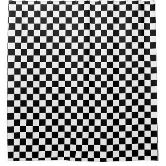 Bold Modern Black and White Checkerboard Shower Curtain