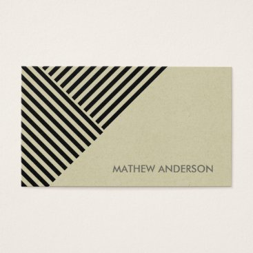 Professional Business BOLD MODERN BLACK ANGLE STRIPED LINE PATTERN BUSINESS CARD