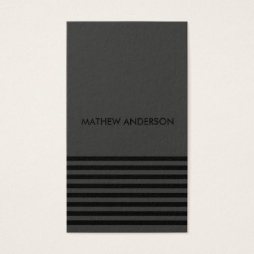 Professional Business BOLD MODERN BLACK WHITE FAUX STRIPED LINE PATTERN BUSINESS CARD