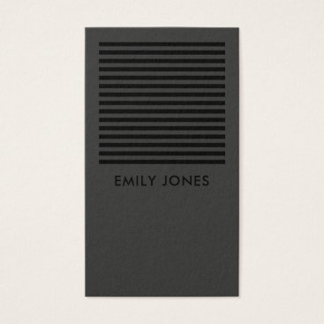 Professional Business BOLD MODERN BLACK WHITE STRIPED LINE PATTERN BUSINESS CARD