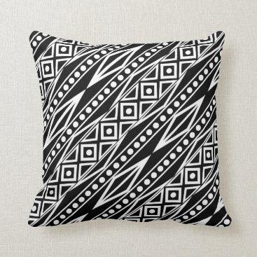 Aztec Themed Bold Modern Black & White Tribal Aztec Geo Pattern Throw Pillow