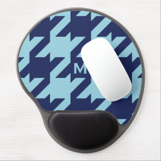 Bold modern blue houndstooth with monogram gel mouse pad