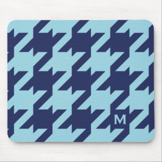 Bold modern blue houndstooth with monogram mouse pad