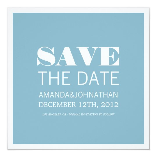 Bold Modern Blue Photo Save The Date Invites