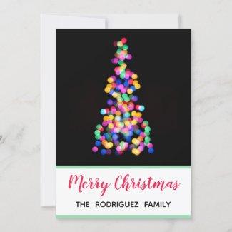 Bold Modern Blurred Christmas Tree Lights Holiday Card