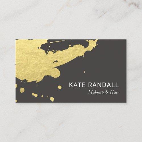 Bold Modern Brown Gold Paint Splatter Business Card