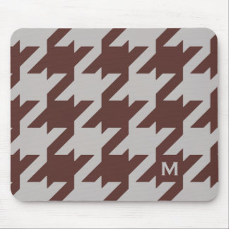 Bold modern brown houndstooth with monogram mouse pad