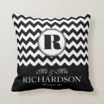 Bold Modern Chevron Mr and Mrs Personalized Throw Pillow