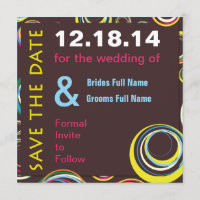 Bold Modern Circles Wedding Save the Date Card