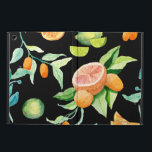 """Bold Modern Citrus Watercolor Oranges Kumquat Lime Cover For iPad Air<br><div class=""""desc"""">Bold.  Simple.  Modern and bright.  A pattern made of hand painted watercolor citrus fruit images including kumquats,  tangerines,  oranges,  lives and a pink grapefruit over a black background.  You can change that color to any you desire.  Art copyright,  Audrey Jeanne Roberts,  all rights reserved.</div>"""