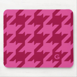 Bold modern deep pink houndstooth with monogram mouse pad