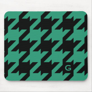 Bold modern emerald houndstooth with monogram mouse pad
