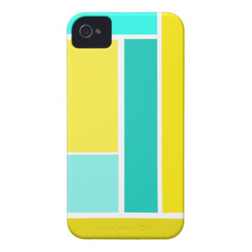 Bold Modern Geometric Pattern in Blue and Yellows Blackberry Case