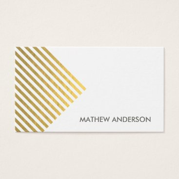Professional Business BOLD MODERN GOLD FAUX ANGLE STRIPED LINE PATTERN BUSINESS CARD