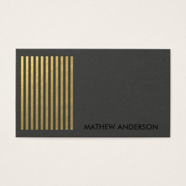 Professional Business BOLD MODERN GOLD FAUX BLACK STRIPED LINE PATTERN BUSINESS CARD